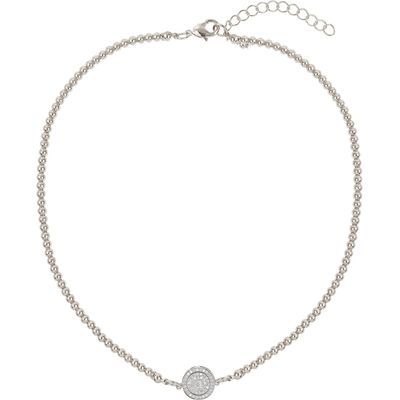 Mikey Disc circle crystal elastic necklace, White