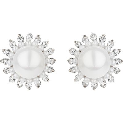 Mikey Multi spike crystal pearl centre stud, N/A