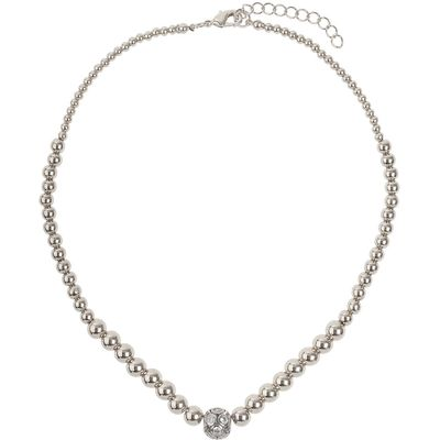 Mikey Large crystals ball metal chain necklace, White