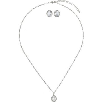 Mikey Oval cubic pendant earring set, White