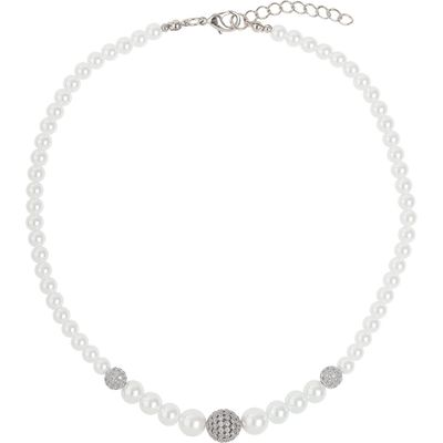 Mikey Multi shiny 12 cubic ball pearl necklace, White