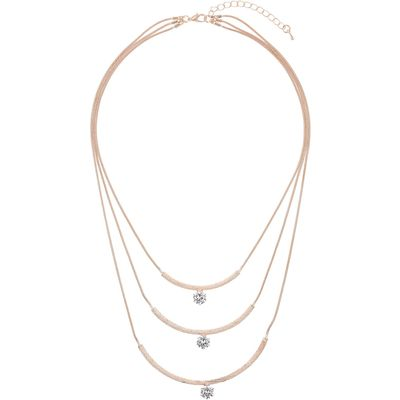 Mikey Curved pendant crystal stone necklace, N/A