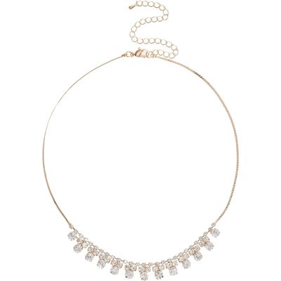 Mikey Multi Crystal Flower Choker Necklace, N/A