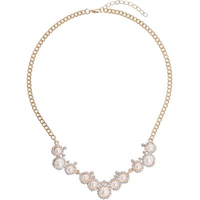 Mikey Pearl Crystal Round Disc Linked Necklace, N/A