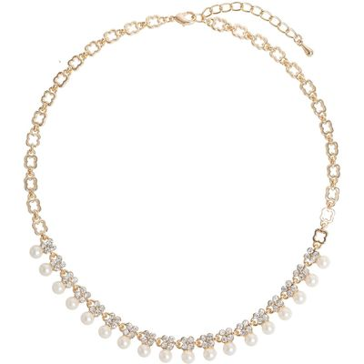 Mikey Hanging Pearl Crystal Linked Necklace, N/A