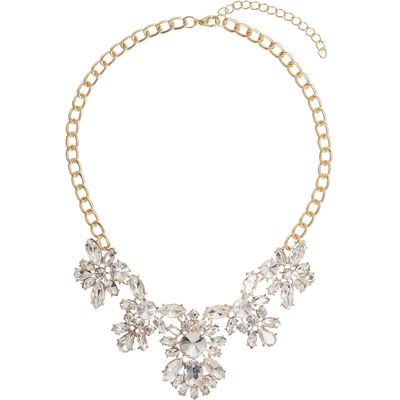 Mikey Multi Crystal Flower Linked Necklace, N/A