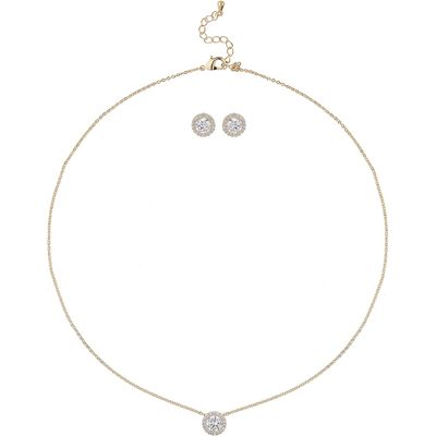 Mikey Rnd MiniCubic Stone Earring Necklace Set, White