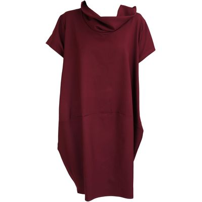 Feverfish Two Pocket Funnel Neck Dress, Red