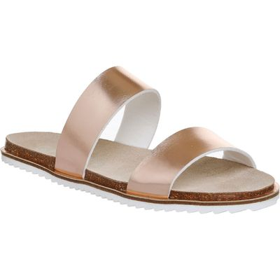 Office Sicily Double Strap Sandals, Rose Gold