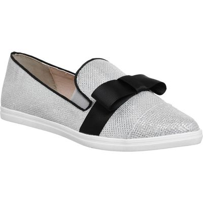 Office Freestyle Bow Point Pumps, Silver