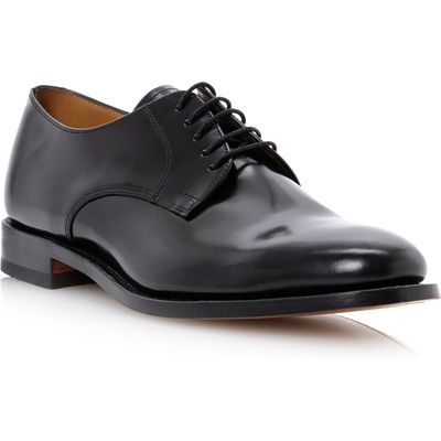 Loake 205B plain toe 5 eye lace gibson shoe, Black