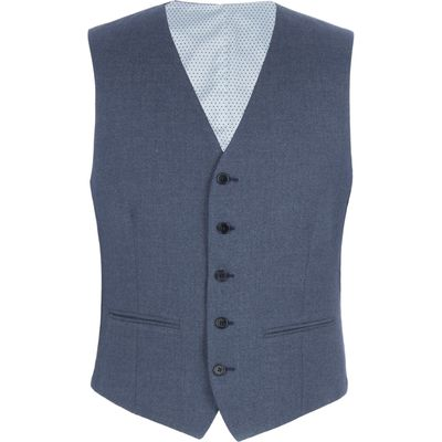 Men's Limehaus Brightwell Blue Jaspe Slim Fit Vest, Blue