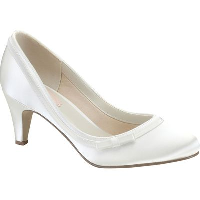 Paradox London Pink Dahlia round toe court shoes, Ivory