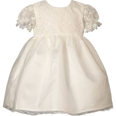 Heritage Lacy Antique White Short Sleeve Dress, Cream