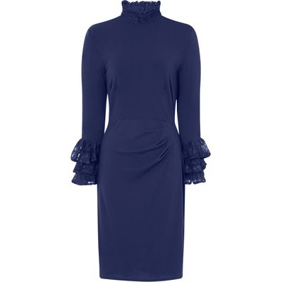 HotSquash Clever Fabric HighNeck Lace Detail Dress, Blue