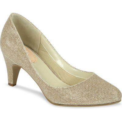 Paradox London Pink Affection round toe court shoes, Champagne