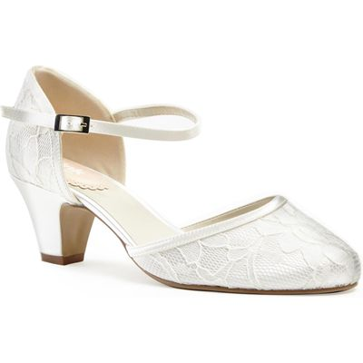 Paradox London Pink Round toe lace `Adore` shoes, White