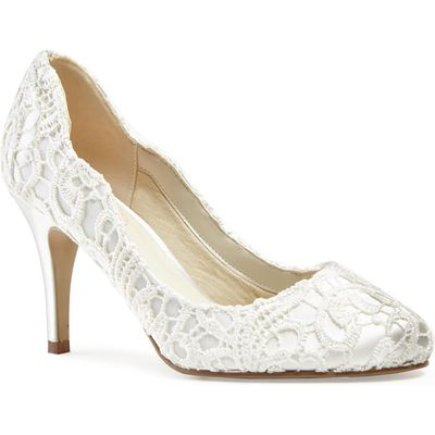 Paradox London Pink Lace covered `Eros` round toe shoes, White