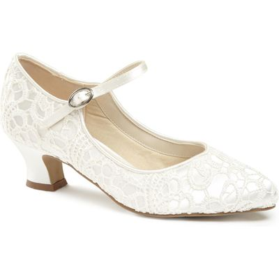 Paradox London Pink Vintage `Mermaid` Lace Mary-Jane shoes, White