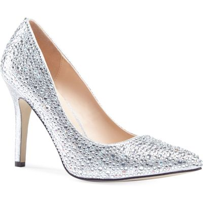 Paradox London Pink Aiesha crystal embellished court shoes, Silver