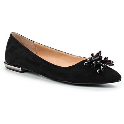Lost Ink Jerri embellished point ballerina shoes, Black