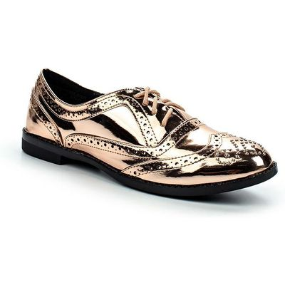 Lost Ink Janice brogue detail oxford shoes, Rose Gold