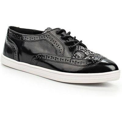 Lost Ink Tyne brogue lace detail point plimsolls, Black