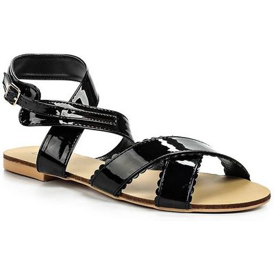 Lost Ink Cheryl scalloped strap sandals, Black