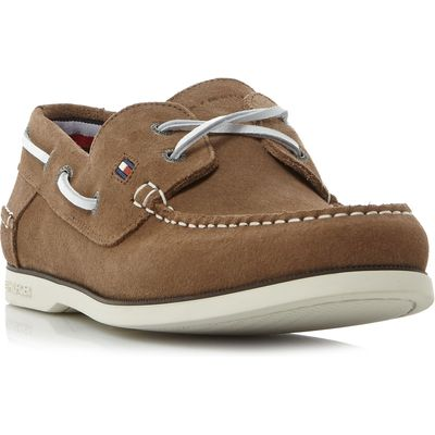 Tommy Hilfiger Knot 1b suede boat shoes, Taupe