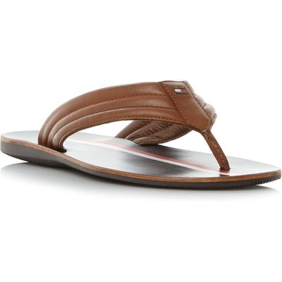 Tommy Hilfiger Torence 3a leather toepost sandals, Tan