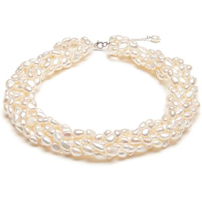 Kyoto Pearl Five Row Twisted Baroque Pearl Necklace, N/A