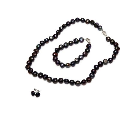 Kyoto Pearl Five row twisted baroque pearl necklace, Black
