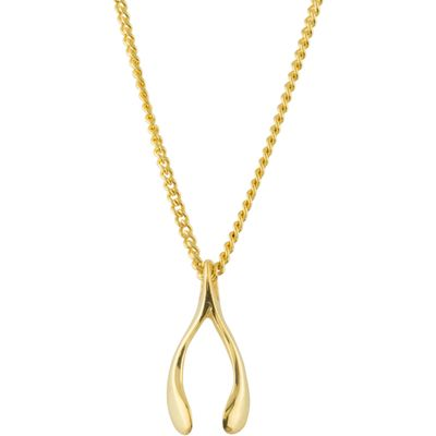 Katie Mullally Gold plated tiny wishbone charm + chain, Silverlic