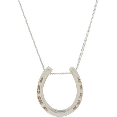 Katie Mullally Silver large horseshoe charm and chain, Silverlic