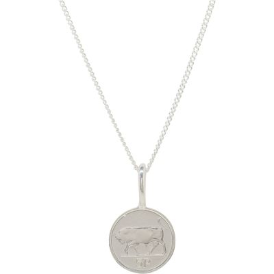 Katie Mullally Silver 5p irish coin charm and chain, Silverlic