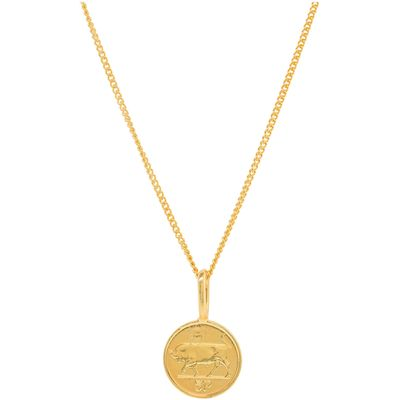 Katie Mullally Gold plated 5p irish coin charm + chain, Silverlic