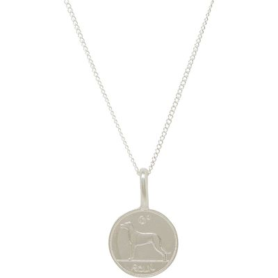 Katie Mullally Silver 6p irish coin charm and chain, Silverlic