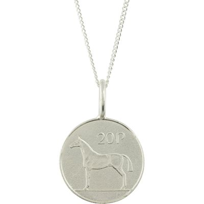 Katie Mullally Silver 20p irish coin charm and chain, Silverlic