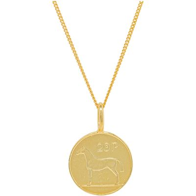 Katie Mullally Gold plated 20p irish coin charm + chain, Silverlic
