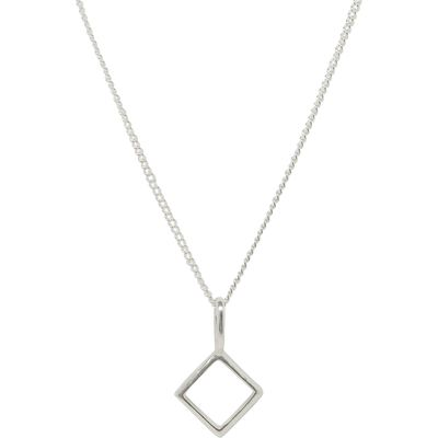 Katie Mullally Silver hollow diamond charm and chain, Silverlic