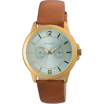 Pilgrim Classic gold plated and brown watch, Brown
