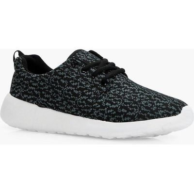 Knitted Loop Back Sports Trainer - grey