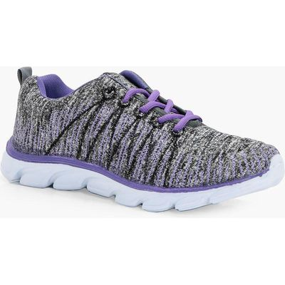 Knitted Lace up Sports Trainer - purple