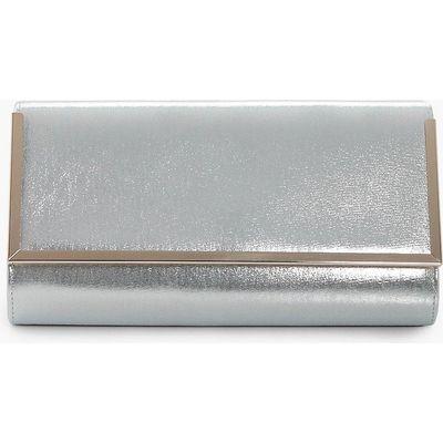 Metal Frame Clutch Bag - silver