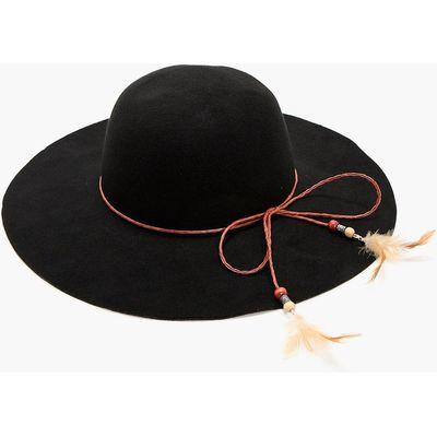 Feather Trim Floppy Hat - black