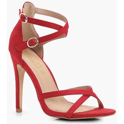 Criss Cross Strap Skinny Sandal - red