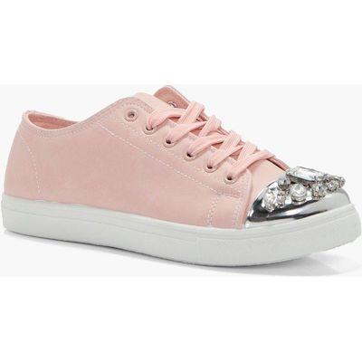Embellished Toe Cap Trainer - blush