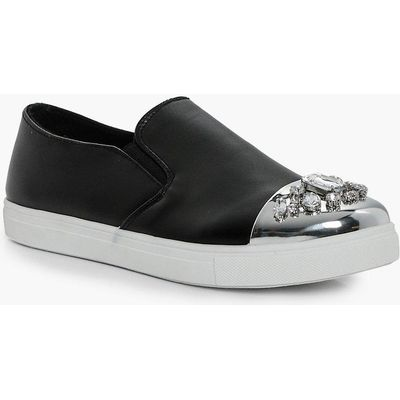 Embellished Toe Cap Skater - black