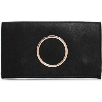 Circle Detail Clutch Bag - black