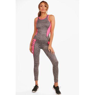 Fit Contrast Panel Vest & Legging Set - pink